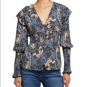 Kylie Paisley-Print Smocked Ruffle Top Size S